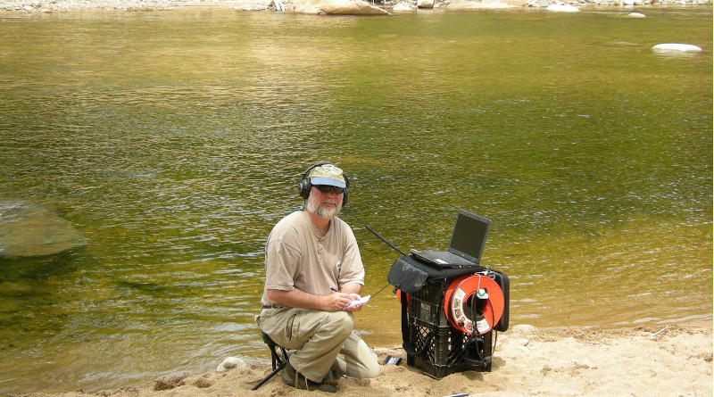 Rountree in the field; Average day-time soundscape composition CREDIT Rountree et al (2020)
