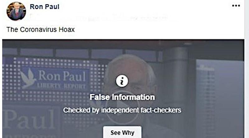 Facebook censors Ron Paul column 'The Coronavirus Hoax'