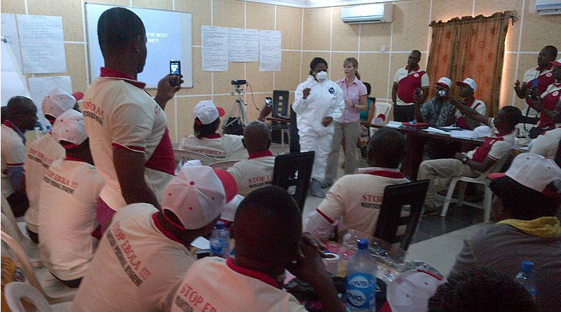 Nigerian health care workers at a training event, August 2014. Photo Credit: CDC Global, Wikipedia Commons