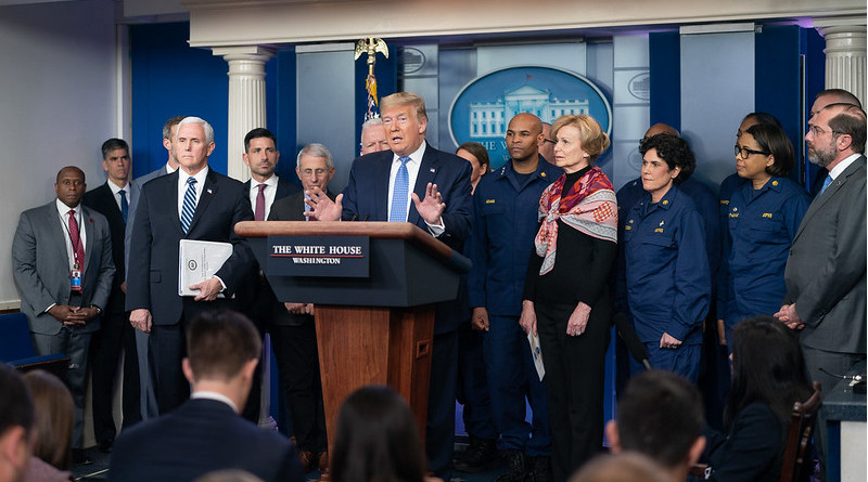 President Donald J. Trump, joined by Vice President Mike Pence and members of the White House Coronavirus Task Force, delivers remarks at a coronavirus update briefing Sunday, March 15, 2020, in the James S. Brady Press Briefing Room of the White House. (Official White House Photo by Andrea Hanks)