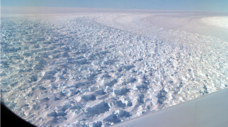 Researchers from UCI and NASA's Jet Propulsion Laboratory are concerned that the unique topography beneath East Antarctica's Denman Glacier could make it even more susceptible to climate-driven collapse. CREDIT NASA