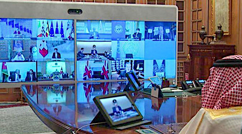 Saudi Arabia's King Salman presides over an extraordinary meeting of G20 leaders where all delegates put social distancing to the extreme in a virtual conference, with all delegates dialing in from around the world. (SPA)
