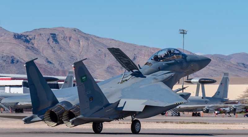 A Saudi Royal Air Force jet takes off at an airbase in the south of the Kingdom. (SPA file photo)