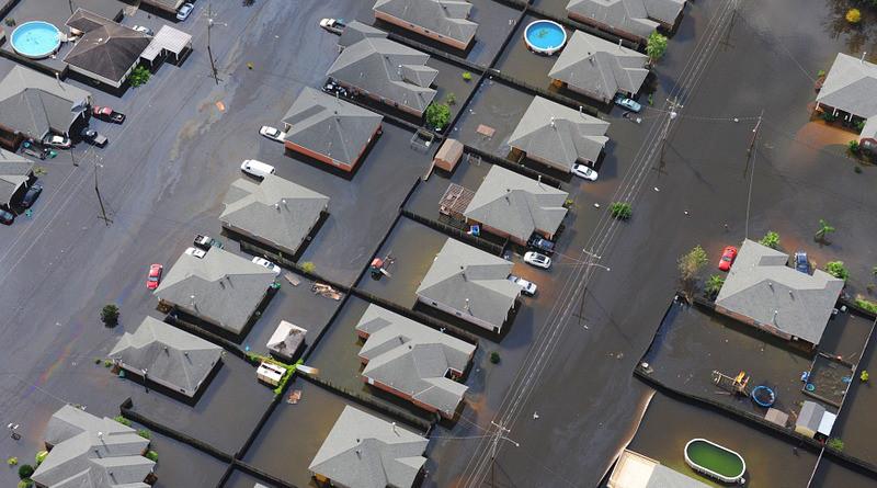 Flood City Neighborhood Houses Disaster Water