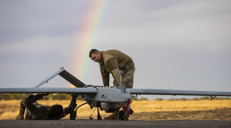Army researchers look at new structural materials for unmanned vehicles systems, such as the RQ-7B Shadow shown here, because these materials are less susceptible to corrosion, lightweight and have higher electrical conductivity than traditional elastomers. CREDIT Master Sgt. Matt Hecht