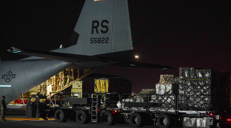A C-130 Hercules stationed from Ramstein Air Base, Germany, delivers pallets of medical equipment to Aviano Air Base, Italy, March 20, 2020. Photo Credit: DOD