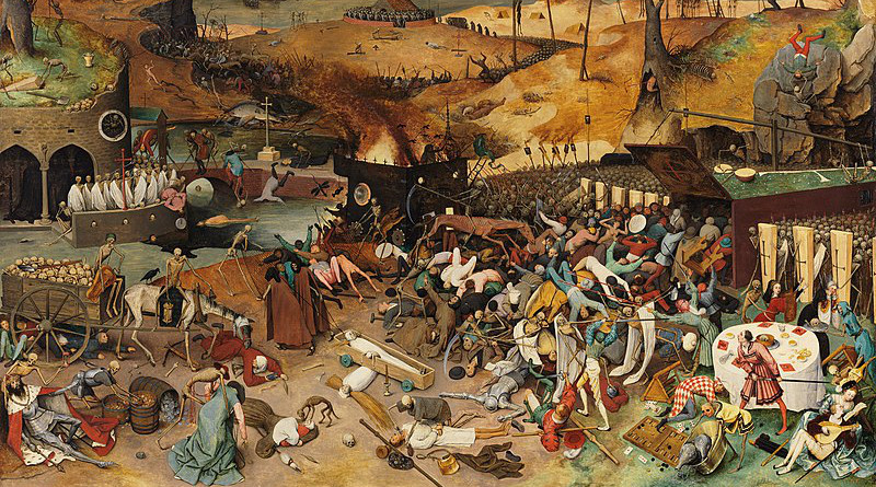 """Pieter Bruegel's """"The Triumph of Death"""" reflects the social upheaval and terror that followed plague, which devastated medieval Europe. Credit: Museo del Prado, Wikipedia Commons."""