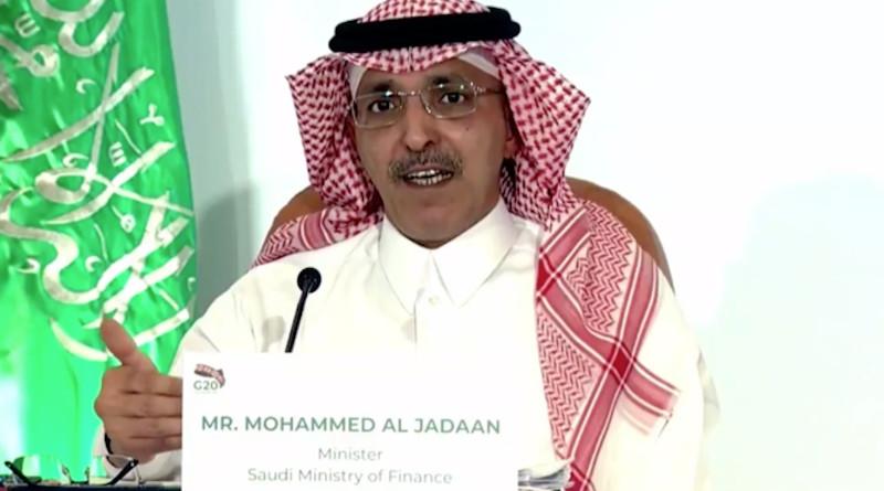 Saudi Arabia's finance minister Mohammed Al-Jadaan chairs G20 meeting. (Screengrab)