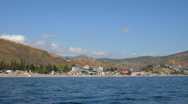 Crimea Lake Water Sky Clouds Beach People