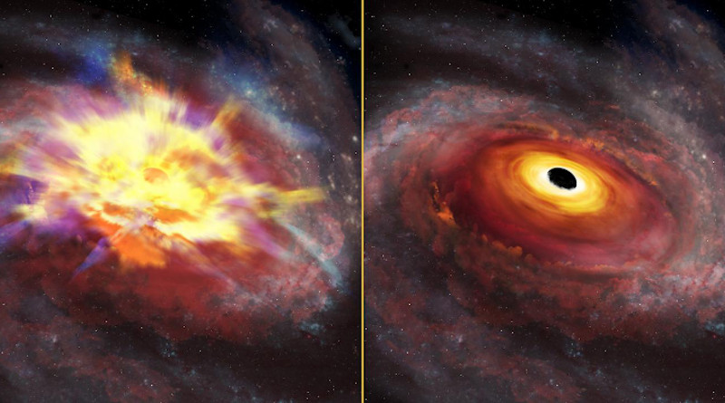 The image at left shows an artist's conception of the central portion of the galaxy that hosts the quasar SDSS J135246.37+423923.5 viewed at optical wavelengths. Thick winds obscure our view, and imprint signatures of the energetic outflow on the SDSS spectrum. The image at right shows the same artist's view at infrared wavelengths, as seen by the Gemini GNIRS detector. The thick outflow is transparent at infrared wavelengths, giving us a clear line of sight to the quasar. The infrared spectrum yields the quasar redshift, and from that reference frame, we measured the record-breaking outflow velocity. CREDIT International Gemini Observatory/NOIRLab/NSF/AURA/P. Marenfeld