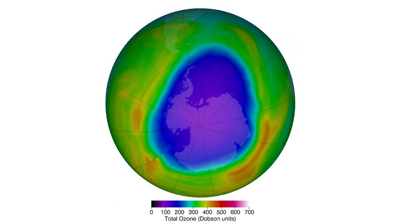 The Antarctic ozone hole that occurs annually in September and October during the Southern Hemisphere spring typically sees much lower ozone levels in than the Arctic. The purples and deep blues show the extent of low ozone levels on Oct. 12, 2018, when they dropped to 104 Dobson units. CREDIT Credits: NASA's Goddard Space Flight Center