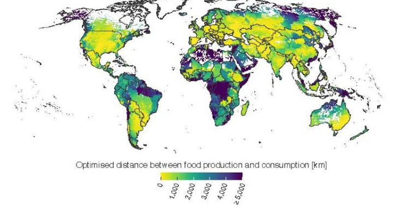 Optimized distance between food production and consumption graphic. CREDIT Aalto University