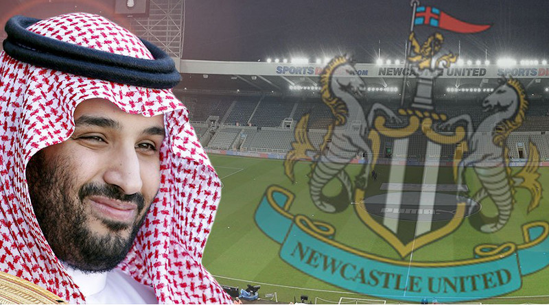 Montage of Saudi Arabia's Crown Prince Mohammed bin Salman and British soccer club Newcastle United.