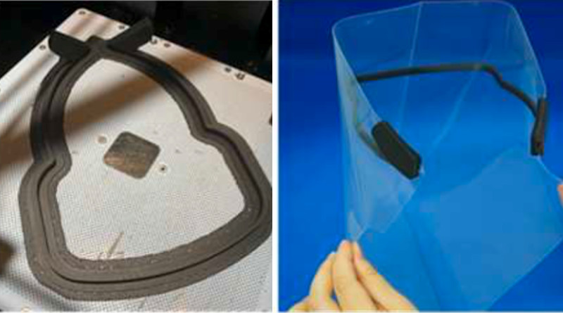 Producing a frame with a 3D printer (left) and shield equipped with a clear plastic file (right).