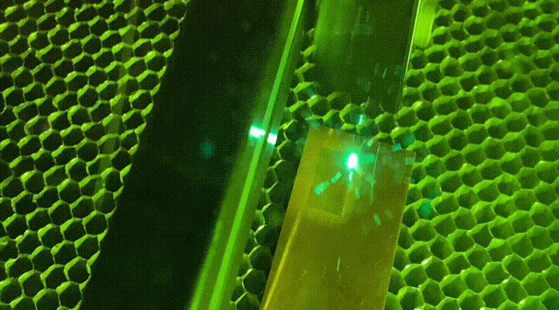 A laser treats the surface of copper, giving it a texture that would allow the metal to instantly kill bacteria. CREDIT Purdue University/Erin Easterling