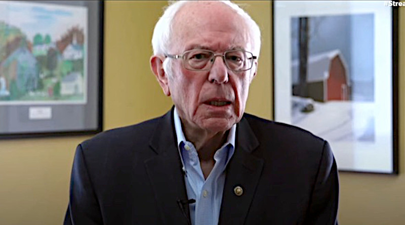 Screenshot of YouTube streaming on 8 Apr 2020 by Bernie Sanders announcing his exit from Presidential campaign. Credit: Bernie Sanders' Website.