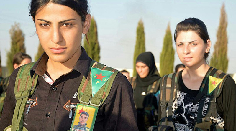 Members of the Kurdish YPG's (People's Protection Units) female units were fighting against ISIS in Syria. Photo Credit: Kurdishstruggle, Wikipedia Commons.