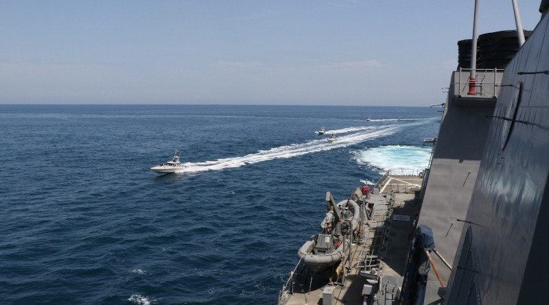 Iranian Islamic Revolutionary Guard Corps Navy (IRGCN) vessels conducted unsafe and unprofessional actions against U.S. Military ships by crossing the ships' bows and sterns at close range while operating in international waters of the North Arabian Gulf. The guided-missile destroyer USS Paul Hamilton (DDG 60) is conducting joint interoperability operations in support of maritime security in the U.S. 5th Fleet area of operations. US Navy photo.