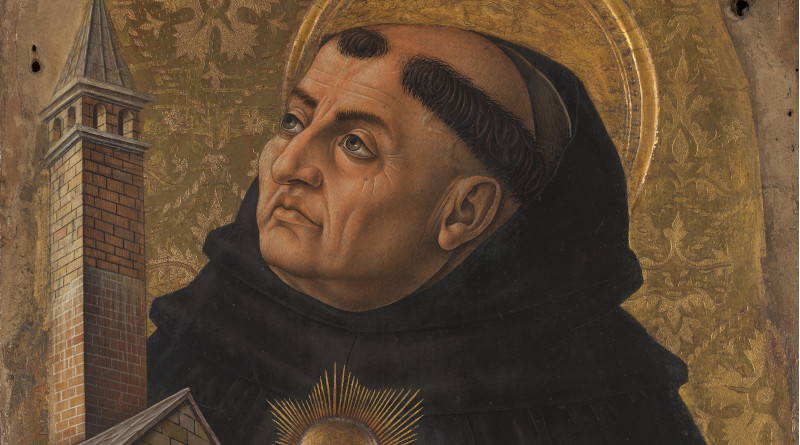 Detail of Saint Thomas Aquinas in Carlo Crivelli painting. Credit: Wikipedia Commons