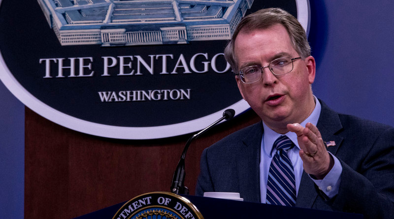 Deputy Defense Secretary David L. Norquist tells Pentagon reporters that the presidential tweet telling Iran to stop harassing ships in the Persian Gulf is welcomed by Defense Department officials, April 22, 2020. Photo Credit: Air Force Staff Sgt. Jackie Sanders, DOD