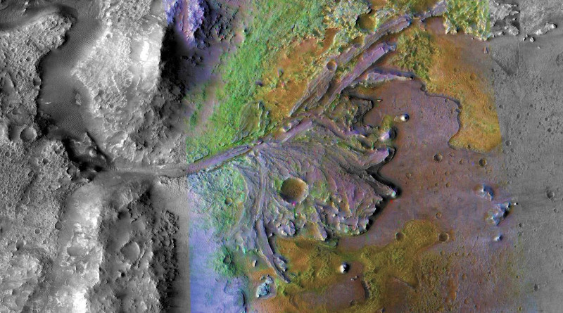 NASA's Mars Perseverance Rover, expected to launch in July 2020, will land in Jezero crater, pictured here. The image was taken by instruments on NASA's Mars Reconnaissance Orbiter, which regularly captures potential landing sites for future missions. CREDIT NASA/JPL-Caltech/ASU