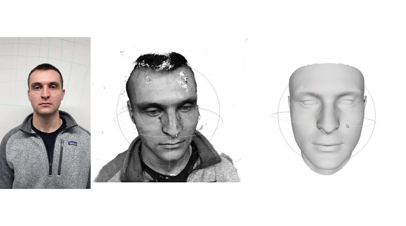 In a 3D face reconstruction process developed at Carnegie Mellon University, smartphone video of a person, left, is analyzed to produce an imperfect model of the face, middle. Deep learning is then combined with conventional computer vision techniques to complete the reconstruction, right. CREDIT Carnegie Mellon University