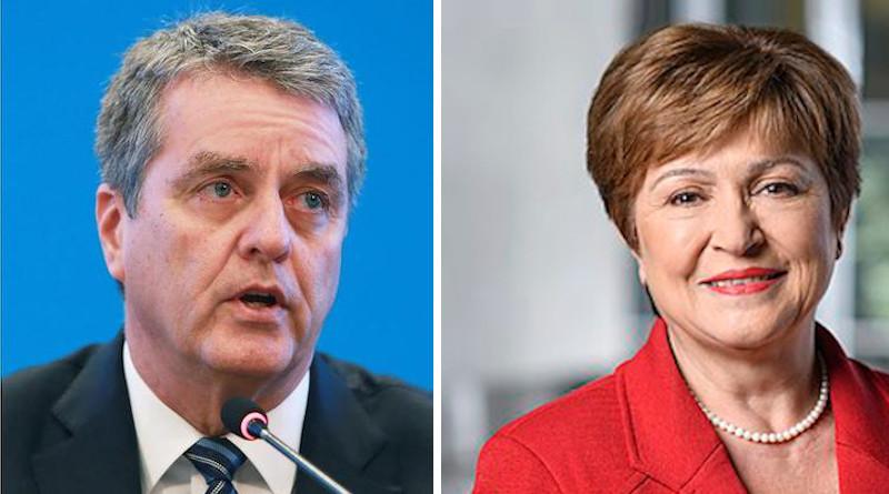 WTO Director-General Roberto Azevêdo (left) and International Monetary Fund (IMF) Managing Director Kristalina Georgieva