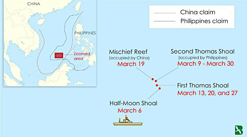 A map representing where a Chinese Coast Guard ship has been patrolling since early March near land features in the South China Sea disputed by the Philippines and China. The inset shows the Philippines' exclusive economic zone and China's so-called nine-dash line. Credit: Benar News