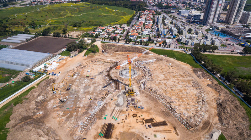 Construction of the Shrine of ʻAbdu'l-Bahá in Israel. The foundations that will support the north and south entrances leading toward the central structure of the Shrine of 'Abdu'l-Baha, and the walls that will enclose an inner garden area, are taking shape. As a result, an imprint of the design's elegant geometry is now visible for the first time. Photo Credit: BWNS