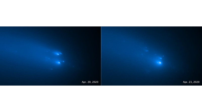 These two Hubble Space Telescope images of comet C/2019 Y4 (ATLAS), taken on April 20 (left) and April 23, 2020, provide the sharpest views yet of the breakup of the solid nucleus of the comet. Hubble's eagle-eye view identifies as many as 30 separate fragments. Hubble distinguishes pieces that are roughly the size of a house. Before the breakup, the entire nucleus of the comet may have been the length of one or two football fields. Astronomers aren't sure why this comet broke apart. The comet was approximately 91 million miles (146 million kilometers) from Earth when the images were taken. CREDIT NASA, ESA, STScI and D. Jewitt (UCLA)