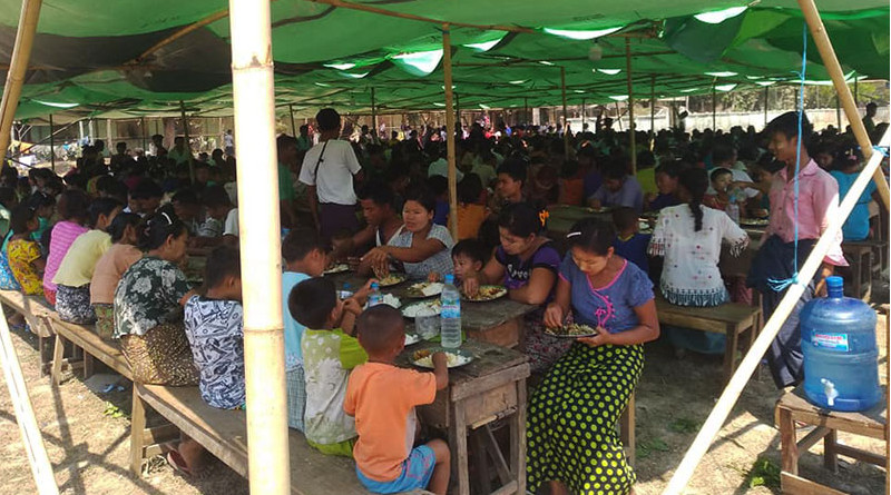 IDPs sheltering at Kyauktaw high school on April 10. Photo: U Oo Tun Win