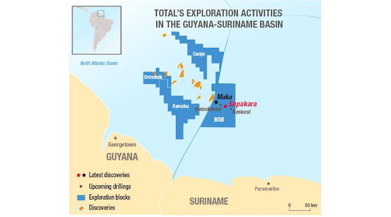 Total's exploration activities in the Guyana-Suriname Basin. Credit: Total