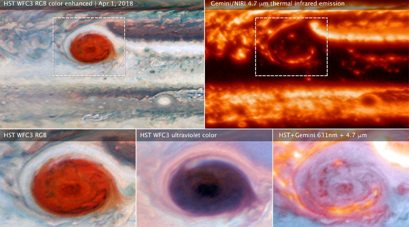 These images of Jupiter's Great Red Spot were made using data collected by the Hubble Space Telescope and the Gemini Observatory on April 1, 2018. By combining observations captured at almost the same time from the two different observatories, astronomers were able to determine that dark features on the Great Red Spot are holes in the clouds rather than masses of dark material. Photo Credit: NASA, ESA, and M.H. Wong (UC Berkeley) and team