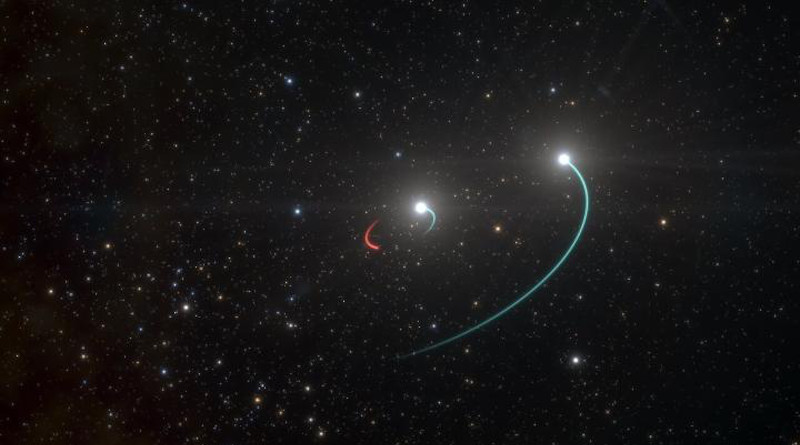 This artist's impression shows the orbits of the objects in the HR 6819 triple system. This system is made up of an inner binary with one star (orbit in blue) and a newly discovered black hole (orbit in red), as well as a third star in a wider orbit (also in blue). The team originally believed there were only two objects, the two stars, in the system. However, as they analysed their observations, they were stunned when they revealed a third, previously undiscovered body in HR 6819: a black hole, the closest ever found to Earth. The black hole is invisible, but it makes its presence known by its gravitational pull, which forces the luminous inner star into an orbit. The objects in this inner pair have roughly the same mass and circular orbits. The observations, with the FEROS spectrograph on the 2.2-metre telescope at ESO's La Silla, showed that the inner visible star orbits the black hole every 40 days, while the second star is at a large distance from this inner pair. CREDIT ESO/L. Calçada