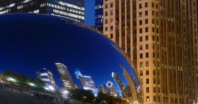 Chicago Dusk Evening Skyscraper Skyline Usa