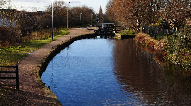 Manchester England United Kingdom Canal View Water Calm Lock Tourism Path