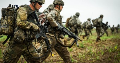 "Soldiers from Michigan National Guard form part of ""enemy"" force during simulated attack near Suwalki Gap as part of NATO exercise Saber Strike 2017, June 2017 (NATO)"