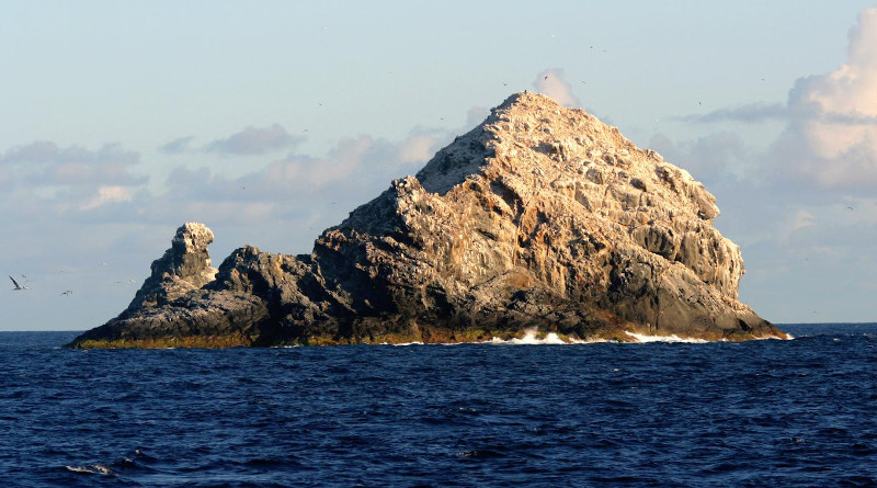 The only remnants of Pūhāhonu that are above sea level (Gardner Pinnacles). CREDIT: NOAA