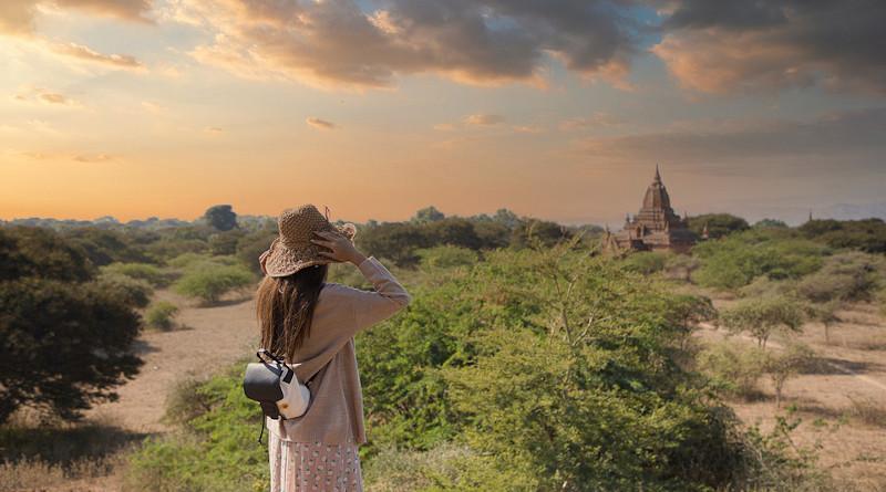 Tourism Girl Traveler Bagan Myanmar Burma Asia Temple