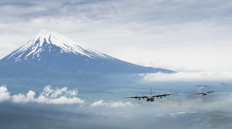 Airplane Air Force Military Mountain Fuji Japan Volcano Landmark Snow Sky