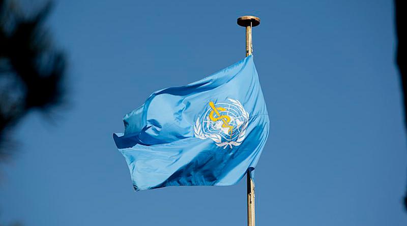 Flag of WHO. Photo Credit: United States Mission Geneva, Wikipedia Commons
