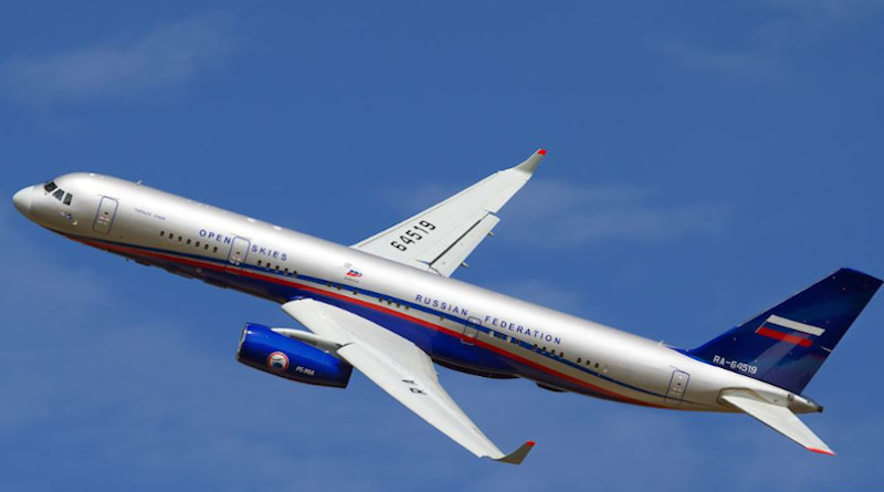 A Russian Tupolev-214 airplane displays the Open Skies markings. Photo Credit: Open Skies official website