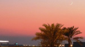 A crecent moon can be seen over palm trees at sunset in Manama, Bahrain, marking the beginning of the Muslim month of Ramadan. Photo Credit: Ahmed Rabea, Wikipedia Commons