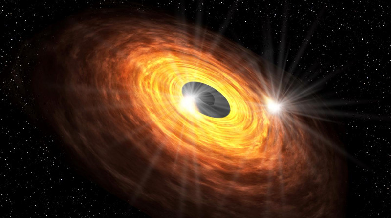 Hot spots circling around the black hole could produce the quasi-periodic millimeter emission detected with ALMA. CREDIT: Keio University