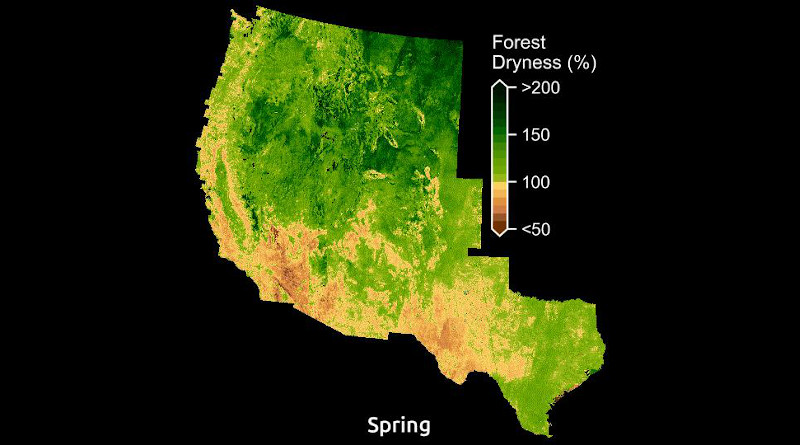 Maps display the amount of water in plants relative to dry biomass across the American West. CREDIT: Krishna Rao