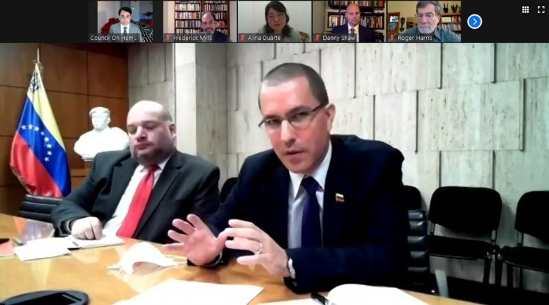 Screenshot of conference call with Venezuelan Foreign Minister Jorge Arreaza: Photo Credit: COHA