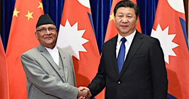File photo of China's President Xi Jinping with Prime Minister K.P. Sharma Oli of Nepal.