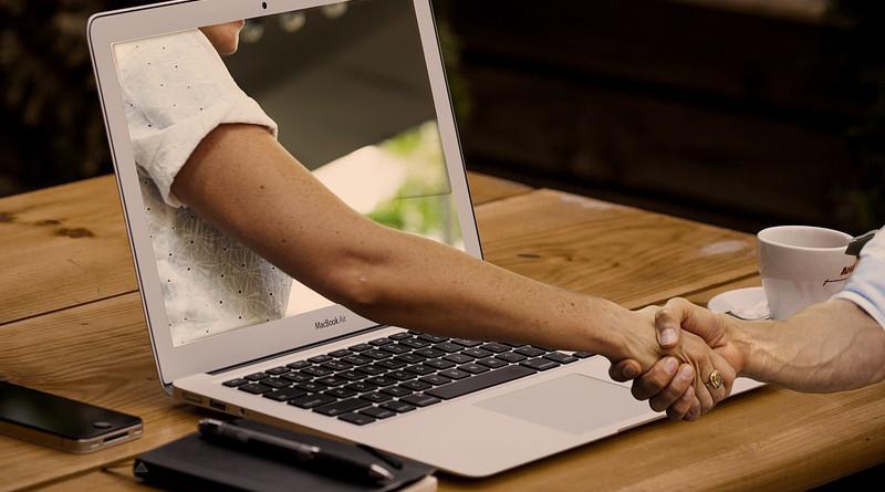 Handshake Hands Laptop Monitor Online Digital