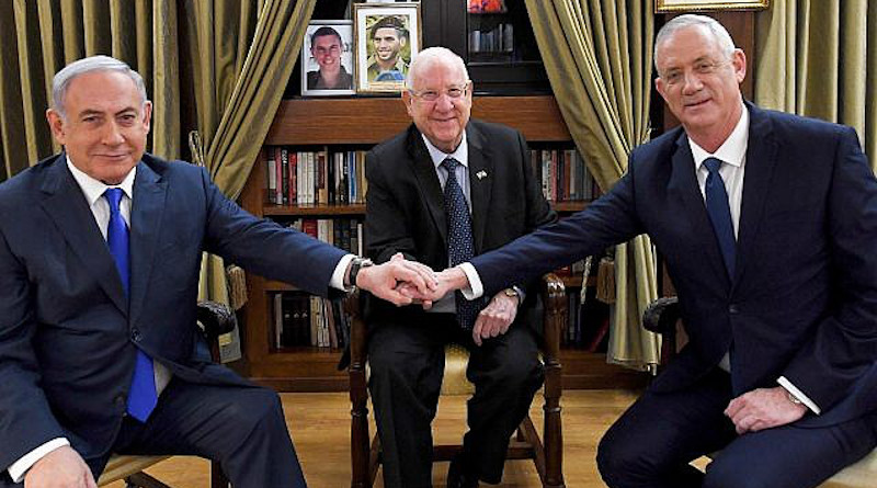 File photo of President Reuven Rivlin meets with Prime Minister Benjamin Netanyahu and Blue and White party leader Benny Gantz at the President's Residence in Jerusalem on September 23, 2019. Photo Credit: Haim Zach/GPO