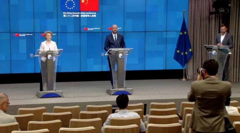 Press conference following the EU-China summit video conference. Photo Credit: Screenshot EU video